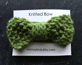 Knitted Bow - olive green