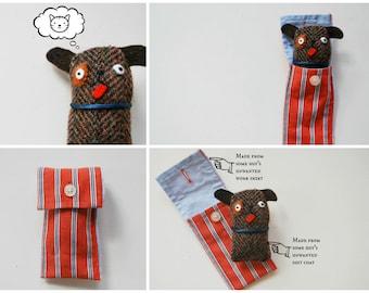 Dog Cuff Critter - Tiny Plushie - Stocking Stuffer - Tween Kid Gift - Plush - Doggy - Pocket-Sized - Upcycled - Puppy - Mini Pet