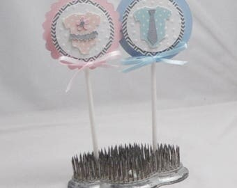 Twice Blessed Baby Bodysuit Cupcake Toppers- Twin Baby Shower- Set of 12