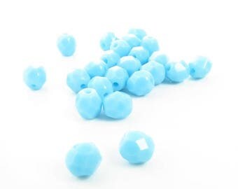 20% Off Sale 6mm Czech Fire Polished Opaque Light Blue Glass Beads - 25 Pieces - 6394