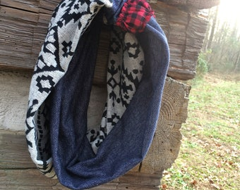 Classic Blues and Buffalo Plaid Infinity Scarf