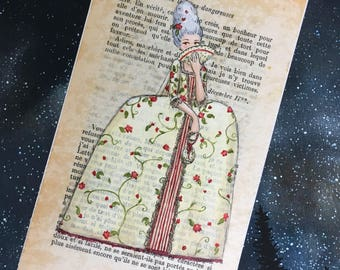 Marie Antionette - Historical Fashion - original painting on book page