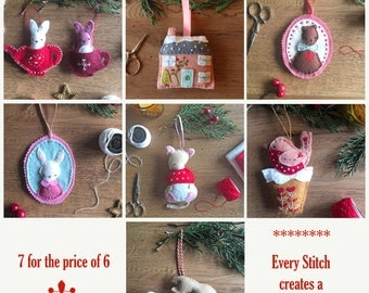 Collection - All Felt Ornament Patterns - 7 for the price of 6 - Christmas Felt Ornament Patterns