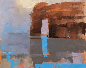 Red Rock, Blue Reflection, abstract landscape oil painting, direct from artist