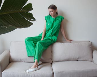 green oversized slouchy jumpsuit / oversized utilitarian jumpsuit / oversized playsuit / s / m / l / 2282d / B1