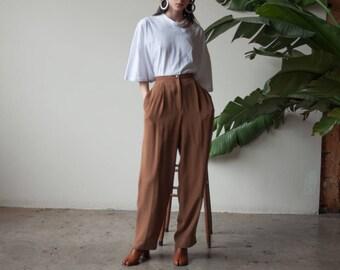 silk brown pleated pants / easy fit trousers / silk baggy pants / us 8 / 28 waist / 3205t / B15