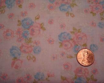 QUARTER YARD vintage fabric pink blue flowers BLYTHE doll sewing