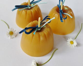 3 Pure Beeswax Jelly-mould Candles / Handmade Candles / Candle Gift / Set of 3