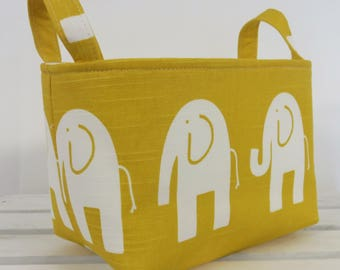 Storage and Organization Fabric Organizer Bin Container Basket - Ele Elephant - White on Yellow - Nursery Decor - Baby Room Decor