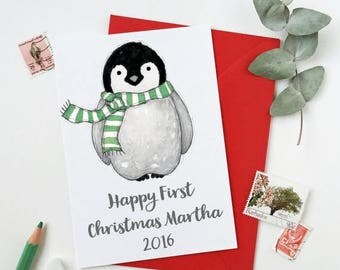 SALE Baby Penguin Personalised First Christmas Card - New Baby Card - First Christmas
