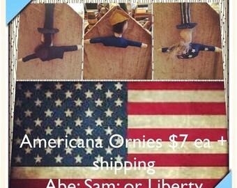 CustomerAppreciationSale Primitive Doll, Americana Ornies