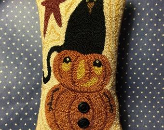 Needle Punch Pillow Primitive Pumpkin Black Cat And Star~Cat Hat