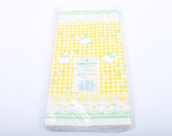 cute vintage table cover american greetings yellow checkered picnic