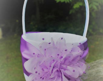 Ivory or White Satin Flower Girl Basket with Grape/ Lavender Sash and Lavender Tulle/Fabric Flower-Age 2-5