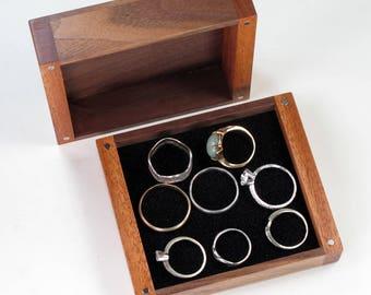 Wooden Jewelry Box, Walnut Wood, Mahogany Wood
