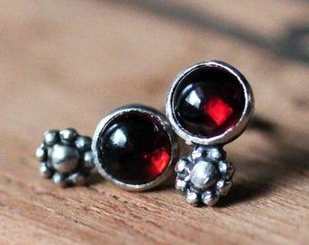 Garnet stud earrings, boho earring studs, cabochon stud earrings, sterling silver stud, daisy stud earrings, January birthstone earrings