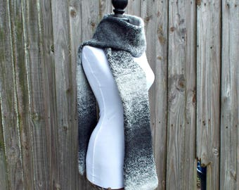 Double Knit Scarf, Charcoal Grey and Silver Grey, Grey Mens Scarf, Grey Womens Scarf, Thick Winter Scarf, Grey Scarf