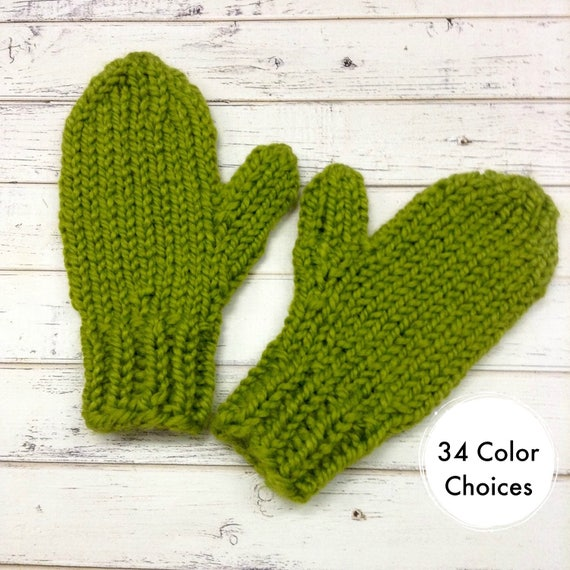Lemongrass Green Mittens Womens Accessories Chunky Womens Mittens Adult Mittens Green Gloves - Knit Accessories - 34 Color Choices