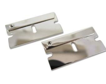 Rhodium Plated Razor Blade Engraving Pendants (1X) (M760-B)