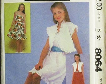 30% OFF SALE 1980s Childs Sewing Pattern McCalls 8064 Girls Jacket & Dress Pattern Size Large Uncut
