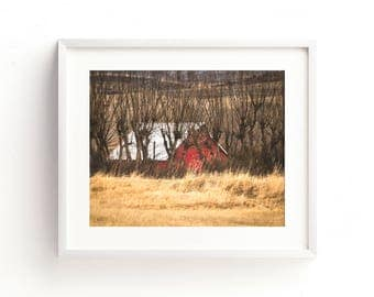 "landscape, barn, red barn, farmhouse decor, rustic wall art, large art, large wall art, canvas art, wall art canvas, art - ""In the Willows"""