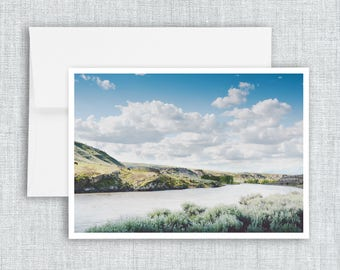 A Bend in the Yellowstone - greeting card, blank greeting card, montana landscape, paradise valley, landscape, mountains, yellowstone river