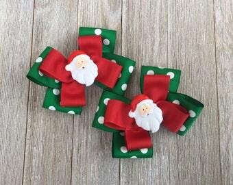 Santa Claus Hair Bows,Christmas Hair Bows,Pigtail Hair Bows,4-4.5 Inch Wide Hair Bows,Alligator Clip Hair Bows