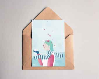Butterflies - illustrated postcard