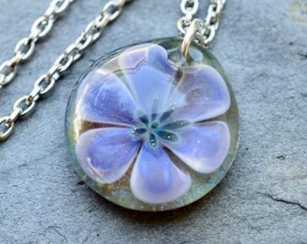 Glass Flower Pendant Necklace Boro Lampwork Jewelry - Haut Monde