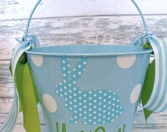 ON SALE Monogrammed Blue Polka Dot Bunny Easter Bucket