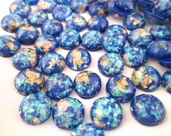 10 12mm Dark Blue Resin Foil Cabochons, color cabs G224