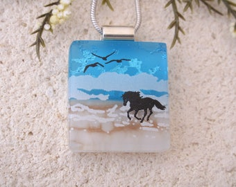 Petite Beach Horse Necklace, Dichroic Necklace, Equestrian, Dichroic Jewelry, Fused Glass Jewelry, Dichroic Pendant, ccvalenzo, 080817p102
