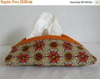 Flash Sale Fall Floral Pocket Tissue Cozy Brown Orange Tissue Case Purse Size