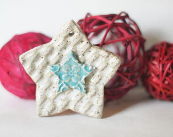 RESERVED 60 Clay Star Ornaments, Christmas Ornaments, yellow and white