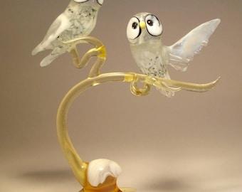 Blown Glass Figurine Art Bird Blue & White Polar North OWL Birds on a Snowy Branch