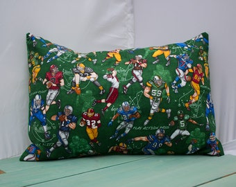 Football Pillowcase - fits 13 x 18 or 12 x 18 Travel or Toddler Pillow