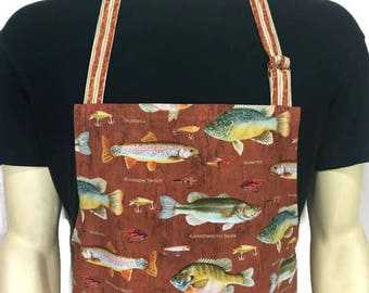 Fishing Apron for men , Gone Fishing , Cabin Kitchen Decor , Fly Fishing / Lake Trout , Rust Brown , Chef Apron , Apron for Dad
