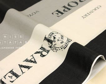 Japanese Fabric Yuwa Suzuko Koseki Voyage - black, grey, cream - fat quarter