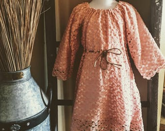 Peasant style girls lace knit  dress with twine removeable belt