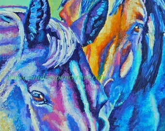 """SALE Original Horse Portrait 12""""x12""""painted by knife"""