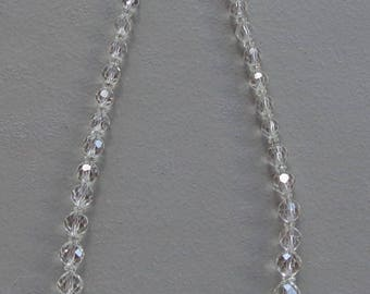 """Vintage Estate Sale Necklace Clear Crystal Glass Faceted Beads 19"""" Long"""