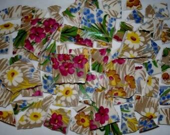 Mosaic Tiles Chintz Flower Mosaic Tiles Pieces - Broken China Plate -Tessera