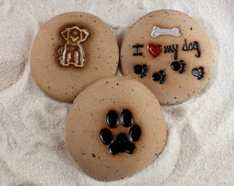 Painted Rocks, I Love My Dog, Paw Print, Dog 3 Ceramic Message Stones, Rock Art, Inspirational Art, Pocket Stone