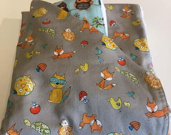 Newborn Gift Set - Hoot Animal Toss Blanket/Burp Cloths - Quiltsy Handmade