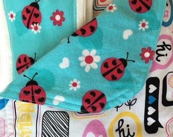 Newborn Gift Set - Hello Moxie - Pink Ladybugs Blanket/Burp Cloths - Quiltsy Handmade
