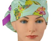 Scrub Hats // Scrub Caps // Scrub Hats for Women // The Hat Cottage // Ponytail // Butterfly Garden