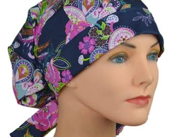 Scrub Hats // Scrub Caps // Scrub Hats for Women // The Hat Cottage // Small // Fabric Ties // Zinnia Paisley