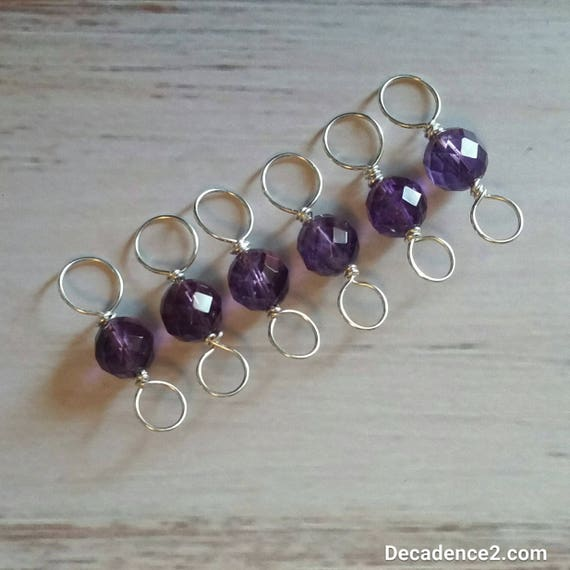 Amethyst, Sterling Silver Double Ended Stitch Markers- Set of 6