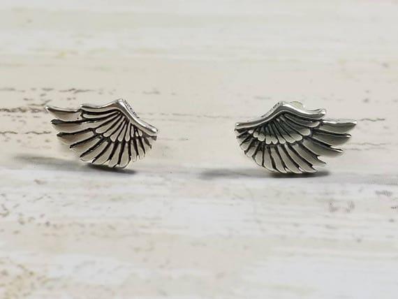 Sterling Silver Wing Earrings, Post Earrings, Stud Earrings, Boho Jewelry