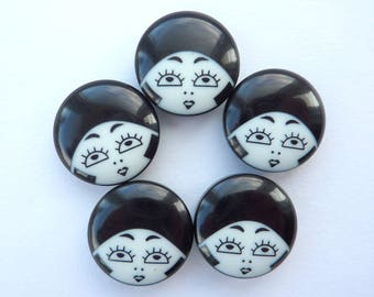 5 x 23mm Black & White Flapper Girl Buttons - Black Hat Variation